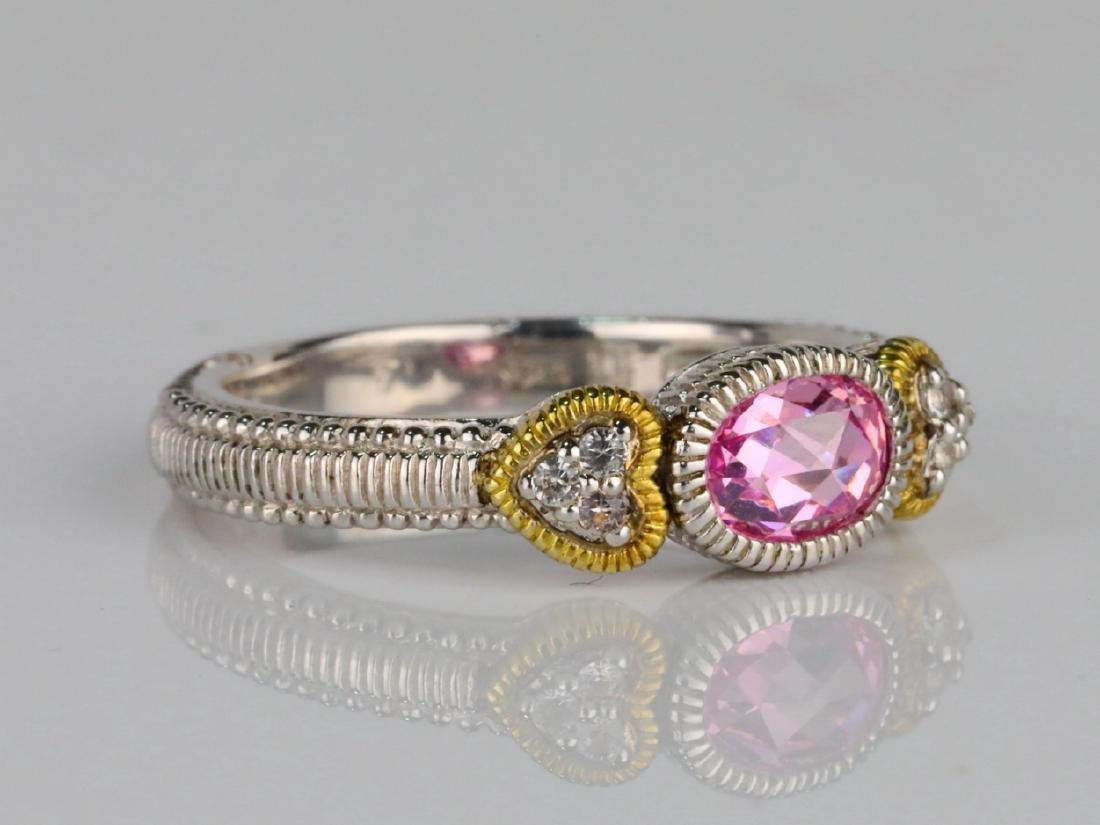 Judith Ripka Pink Topaz & Sterling Silver/18K Ring - 3