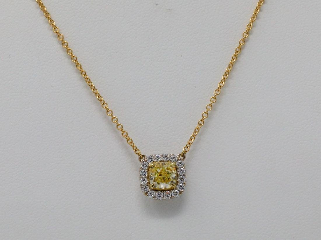 1.52ct GIA Fancy Light Yellow Diamond 18K Necklace