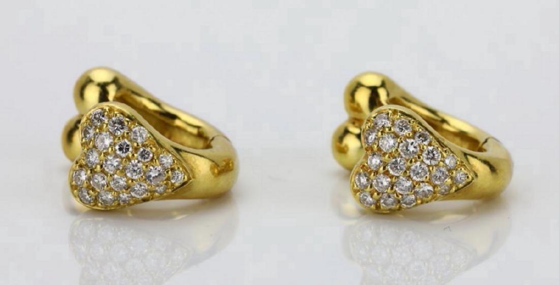 18K 0.85ctw SI1-SI2/G-H Diamond Huggie Hoop Earrings