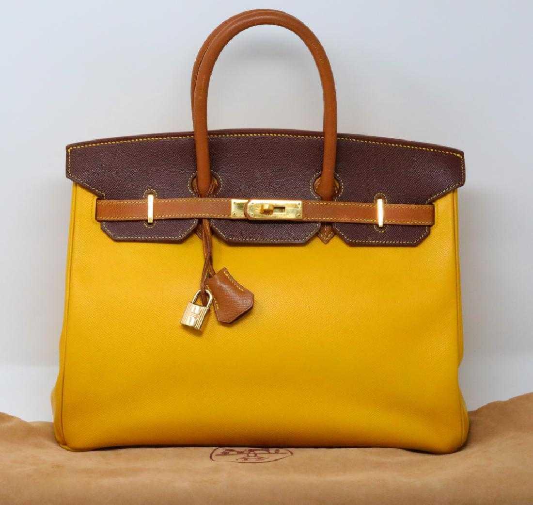 70e4b5c289e3 Hermes 35cm Tri-Color Togo Leather Birkin Bag