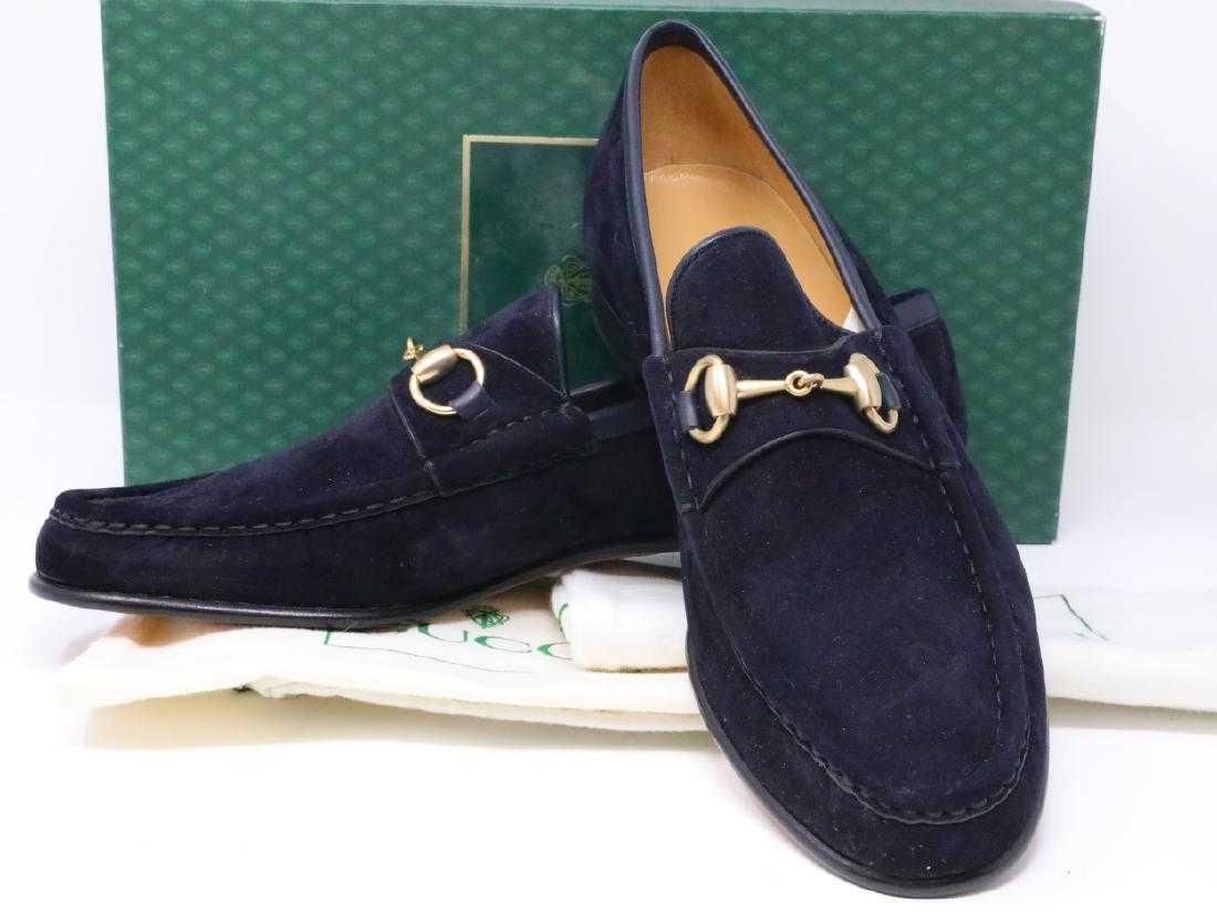 9d428a2030e Gucci 1980s Navy Suede Men s Horsebit Loafers