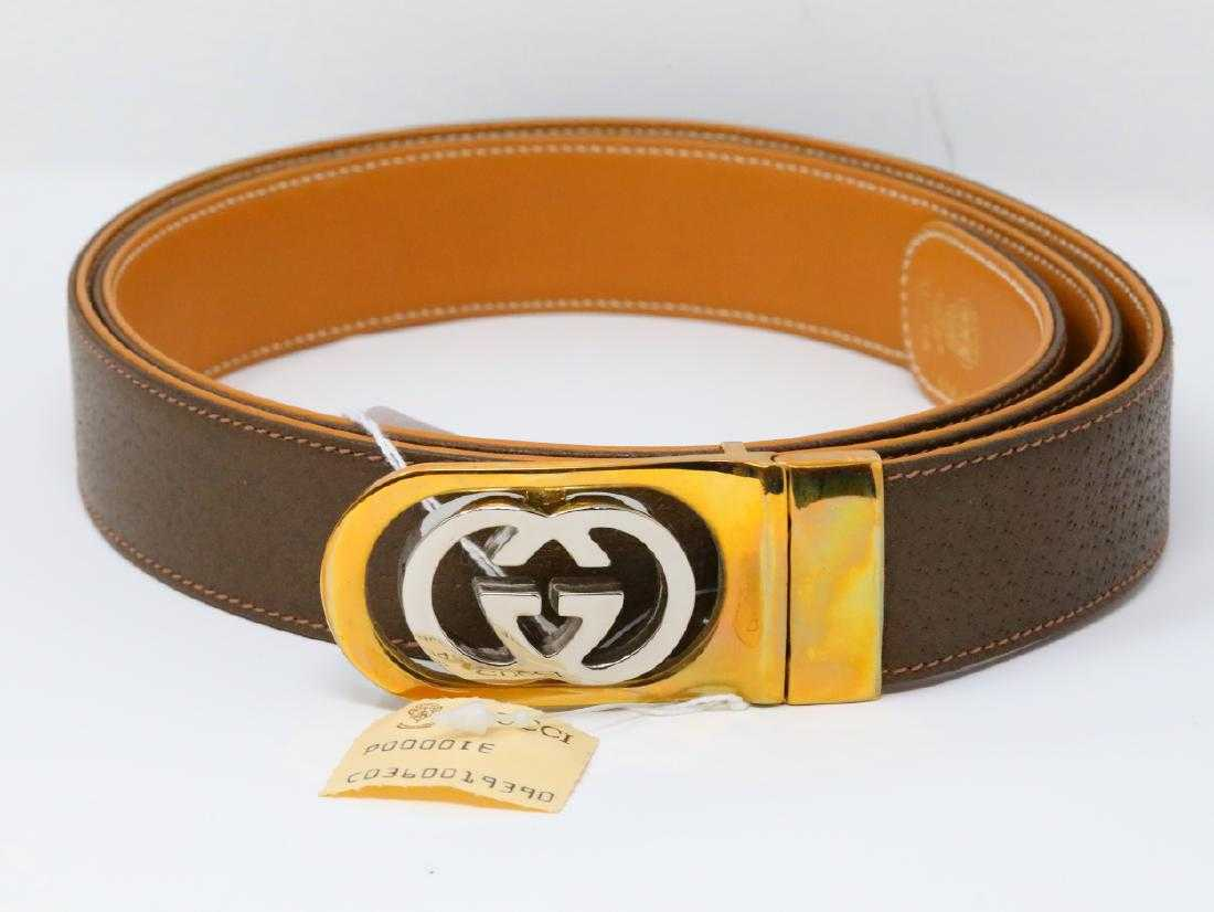 498be843434 Gucci 1980s GG Logo Reversible Olive Tan Leather Belt