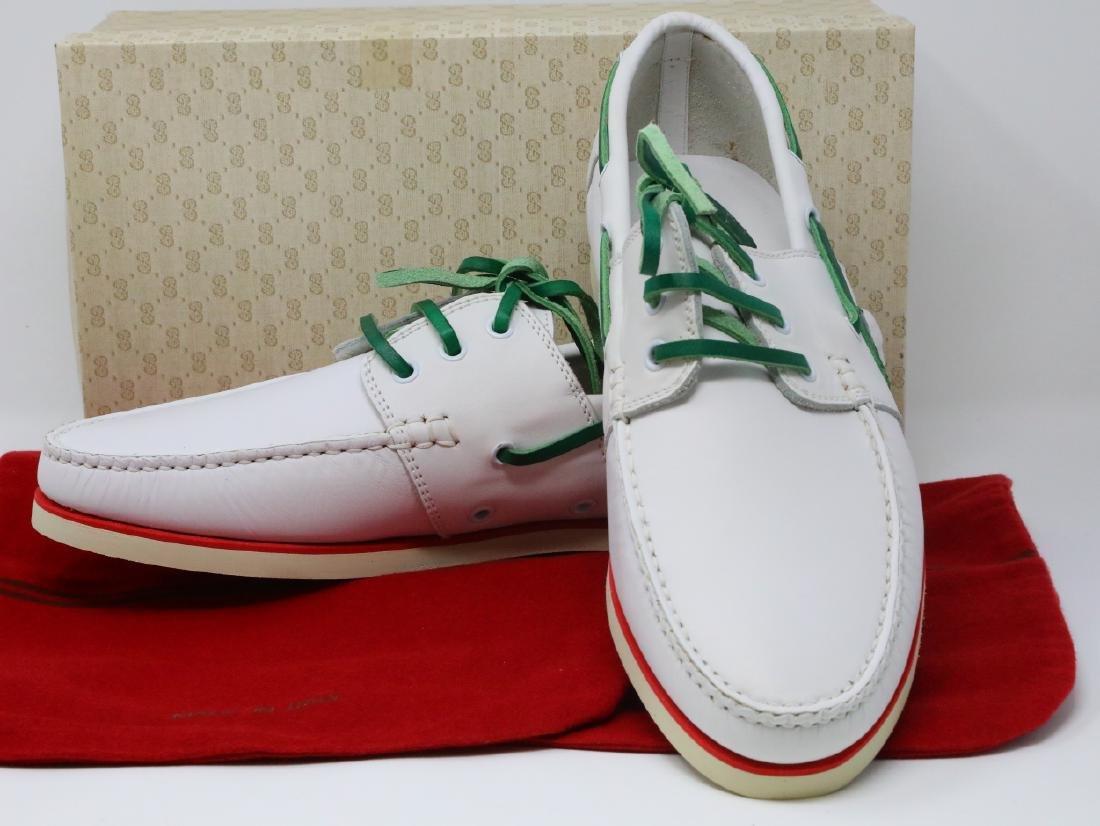 7ce02e8f26d88 Gucci 1980s White Novo Calf Leather Men's Boat Shoes