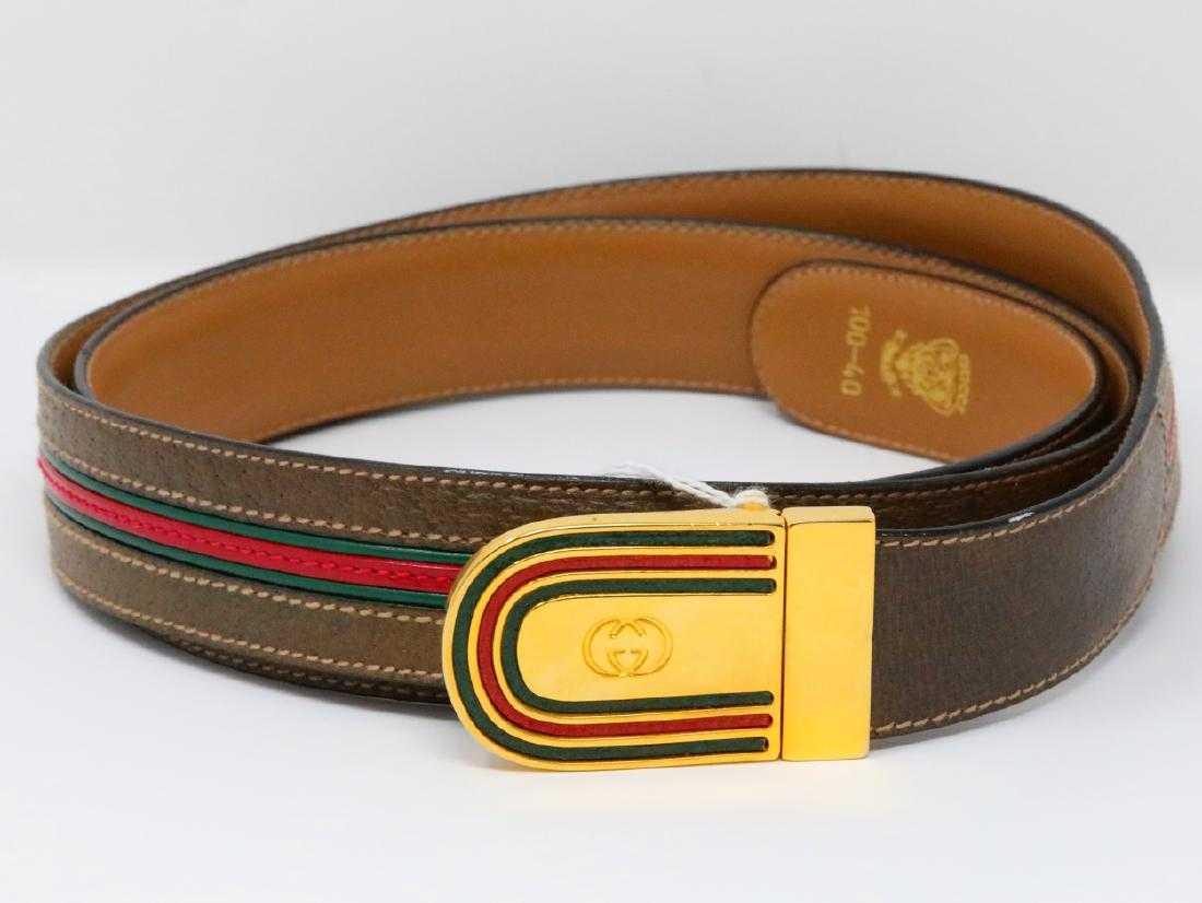 4b1004926ac Gucci Olive Web Leather Belt Reversible Belt