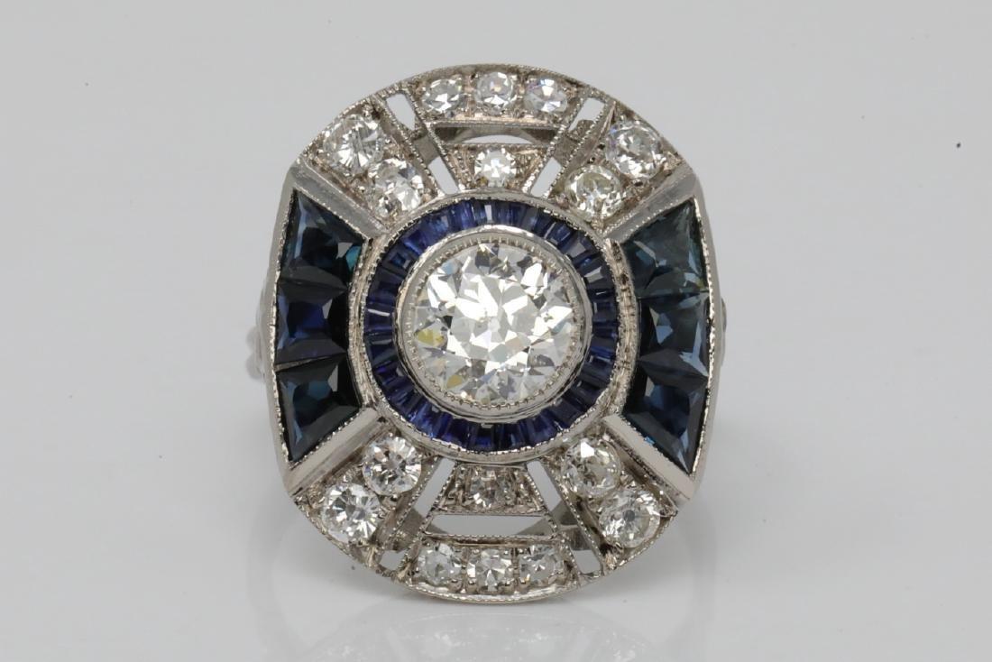 3.75ctw Diamond & Blue Sapphire Platinum Deco Ring
