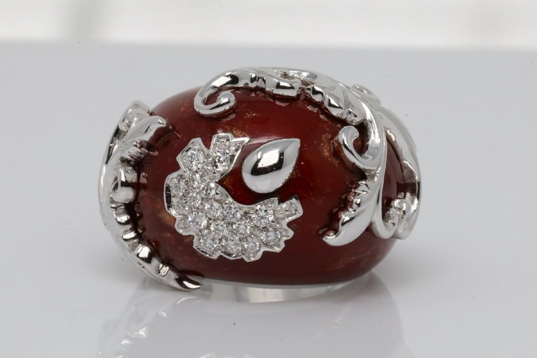 La Nouvelle Bague Diamond, Red Enamel & 18K Ring