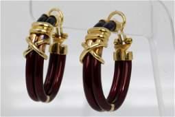 """La Nouvelle Bague 18K 1.5"""" Earrings W/Enamel"""