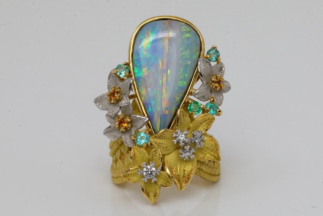 Hiko 11.30ctw Opal, Tourmaline & Sapphire 18K Ring