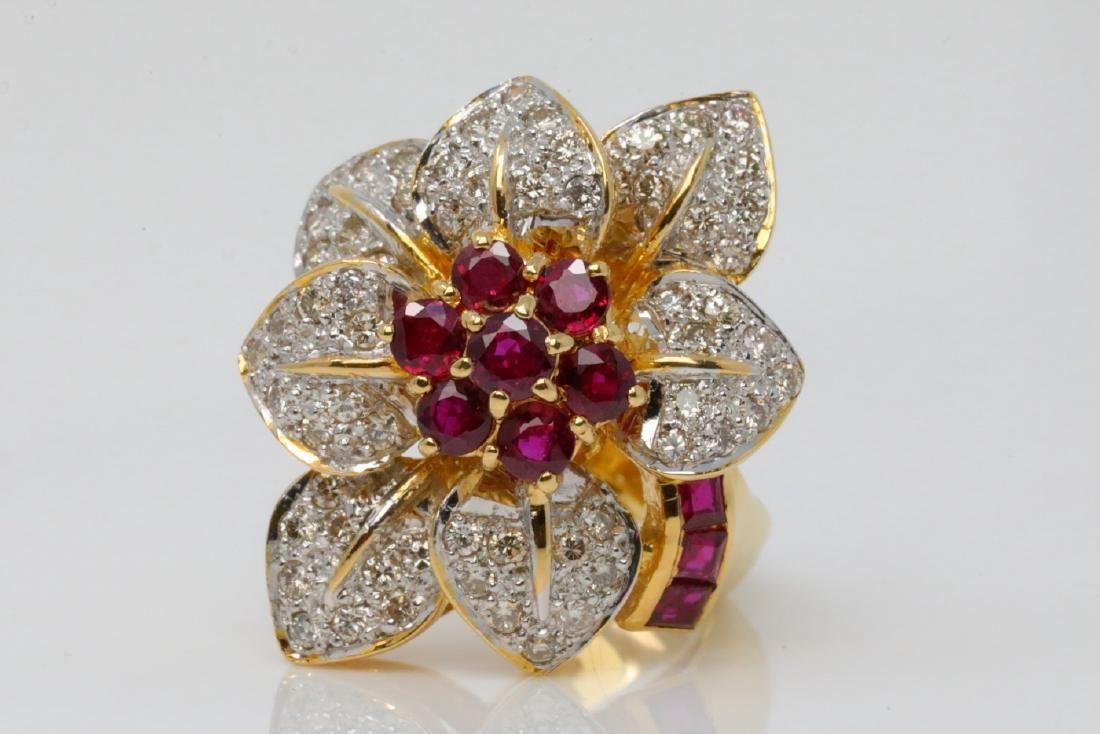 1.35ctw Ruby, .75ctw SI1-SI2/G-H Diamond 18K Ring
