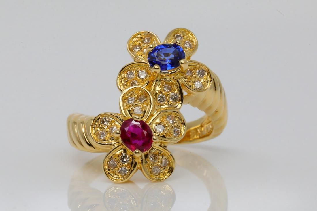 1.05ctw Ruby, Blue Sapphire & Diamond 18K Ring
