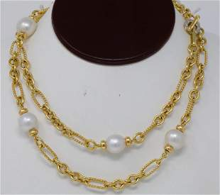 David Yurman 18K & 13.5mm Pearl Necklace W/Diamonds