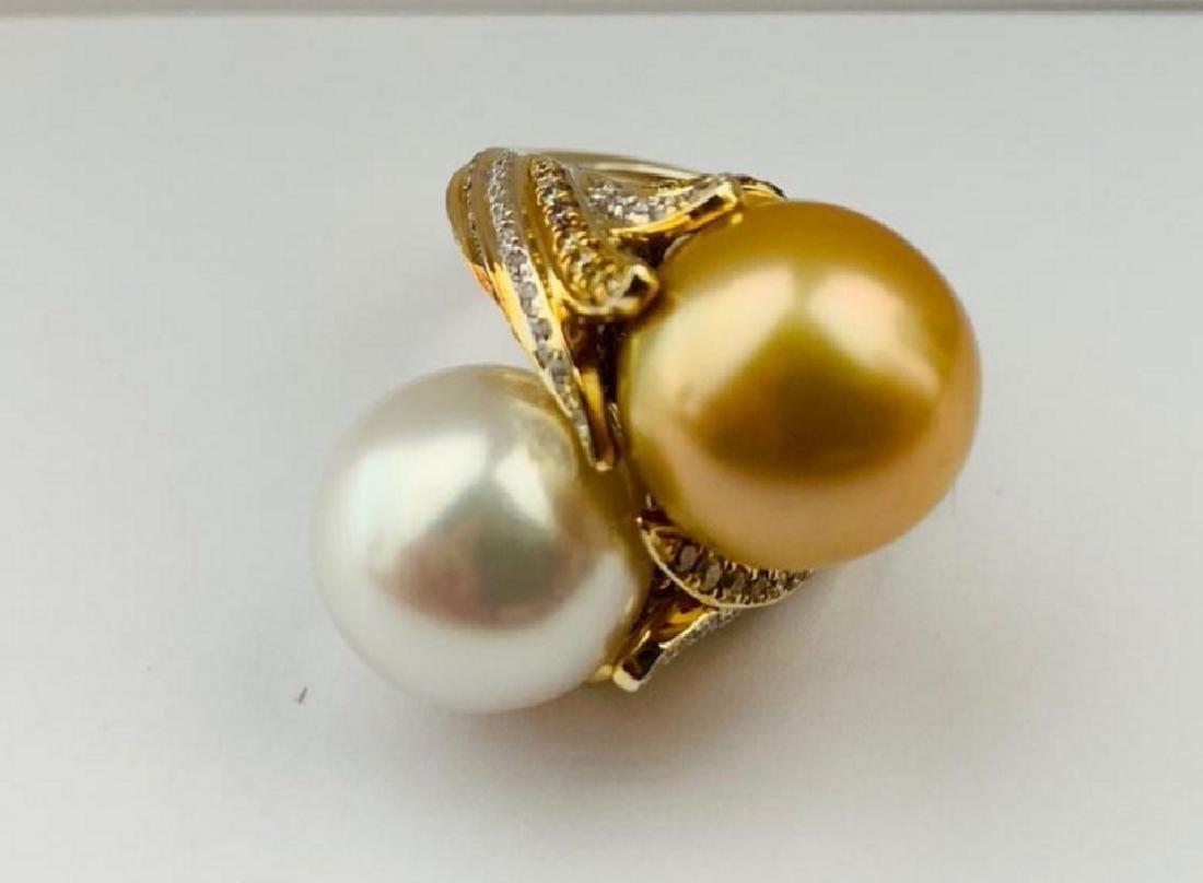 13.5mm South Sea Pearl, 1.25ctw Diamond 18K Ring