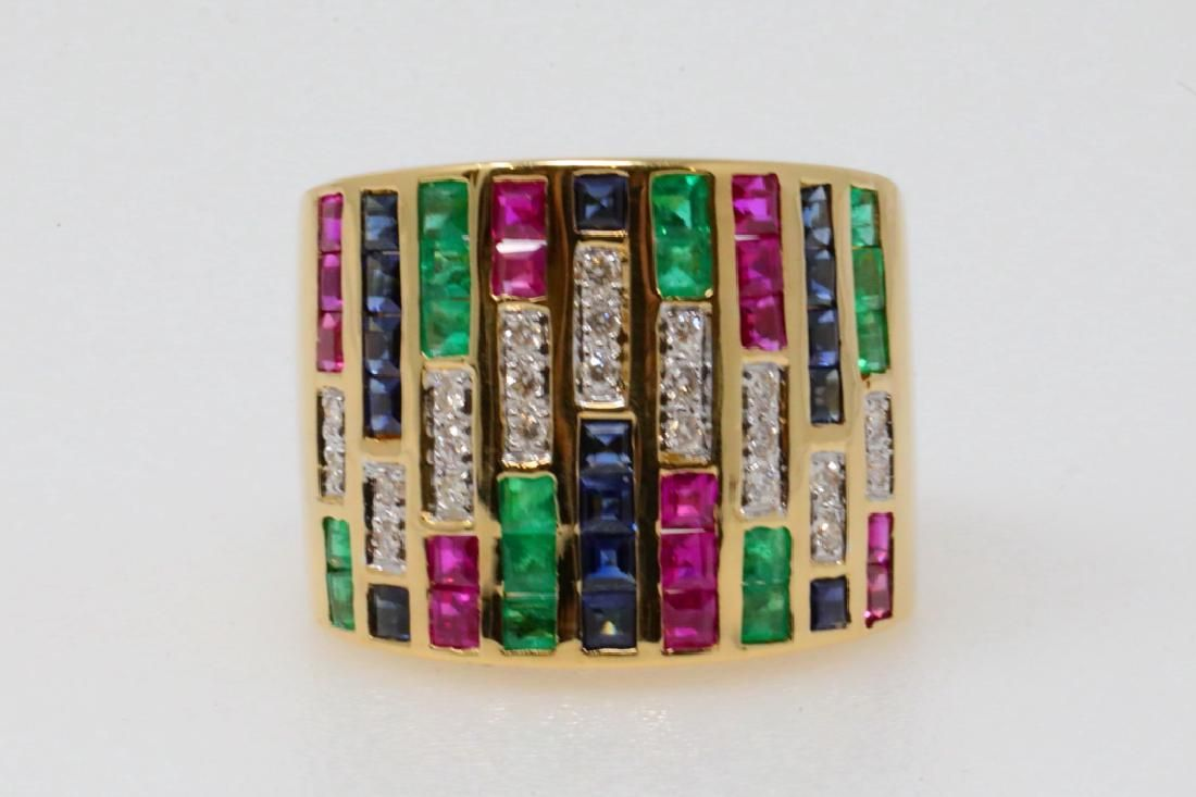 2.75ctw Emerald, Blue Sapphire & Ruby 18K Ring