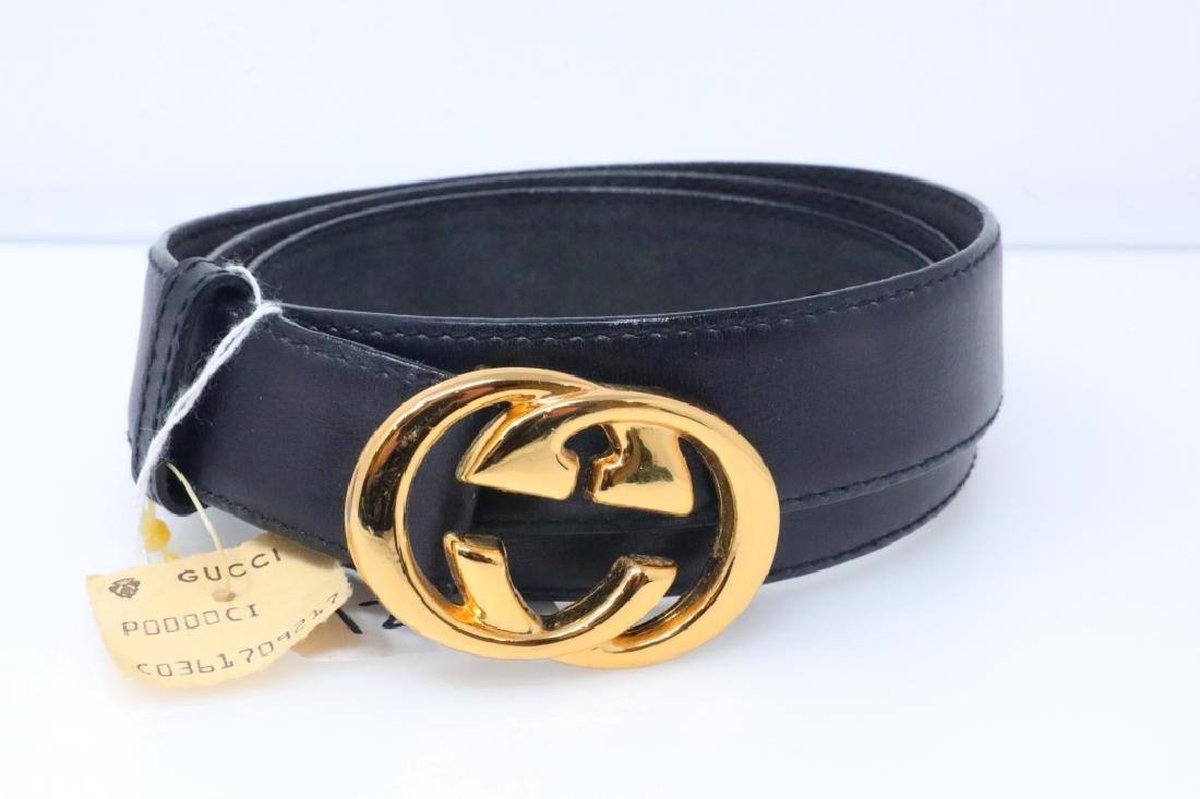 Gucci 1980s GG Logo Black Leather Belt New W/Tag