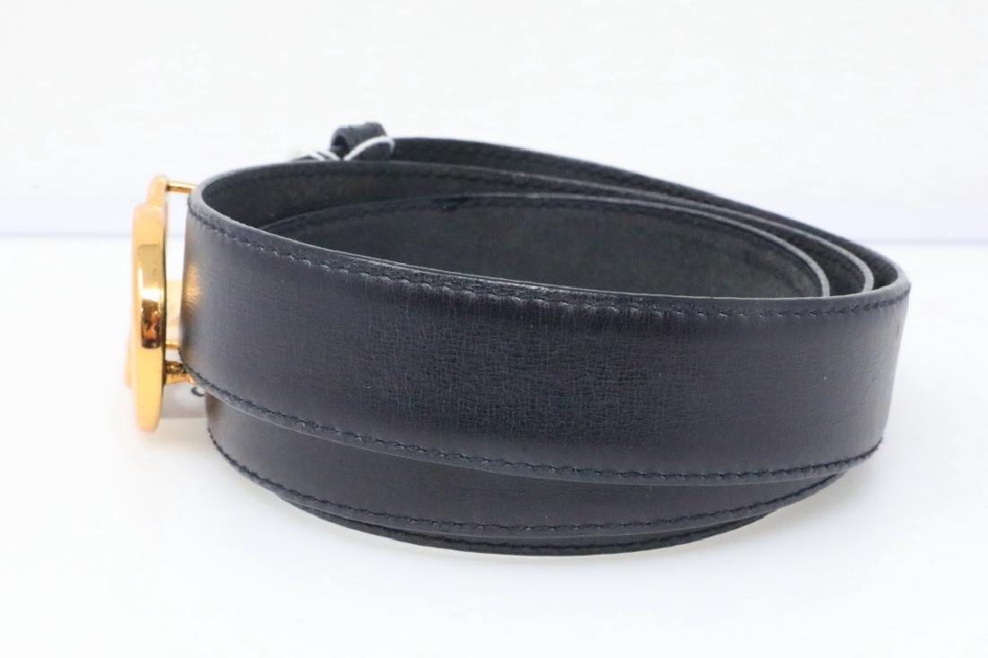 Gucci 1980s GG Logo Black Leather Belt New W/Tag - 2