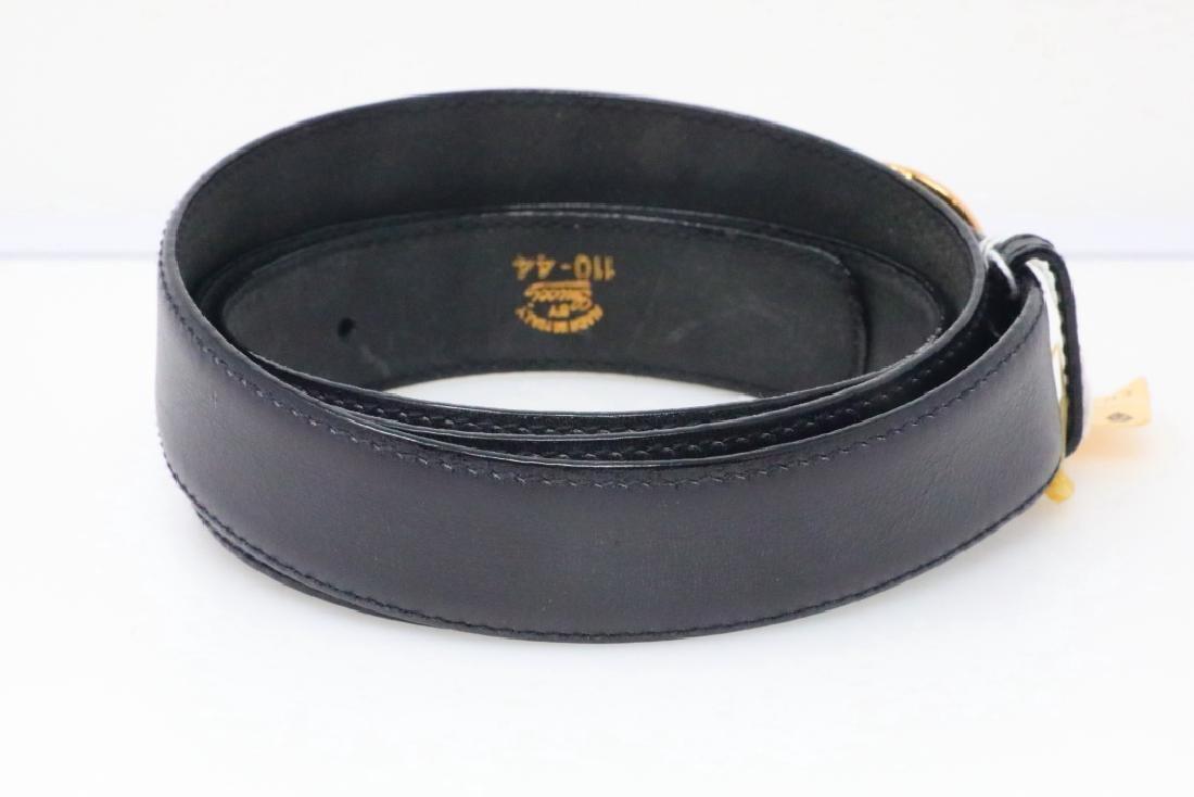 Gucci 1980s GG Logo Black Leather Belt New W/Tag - 3