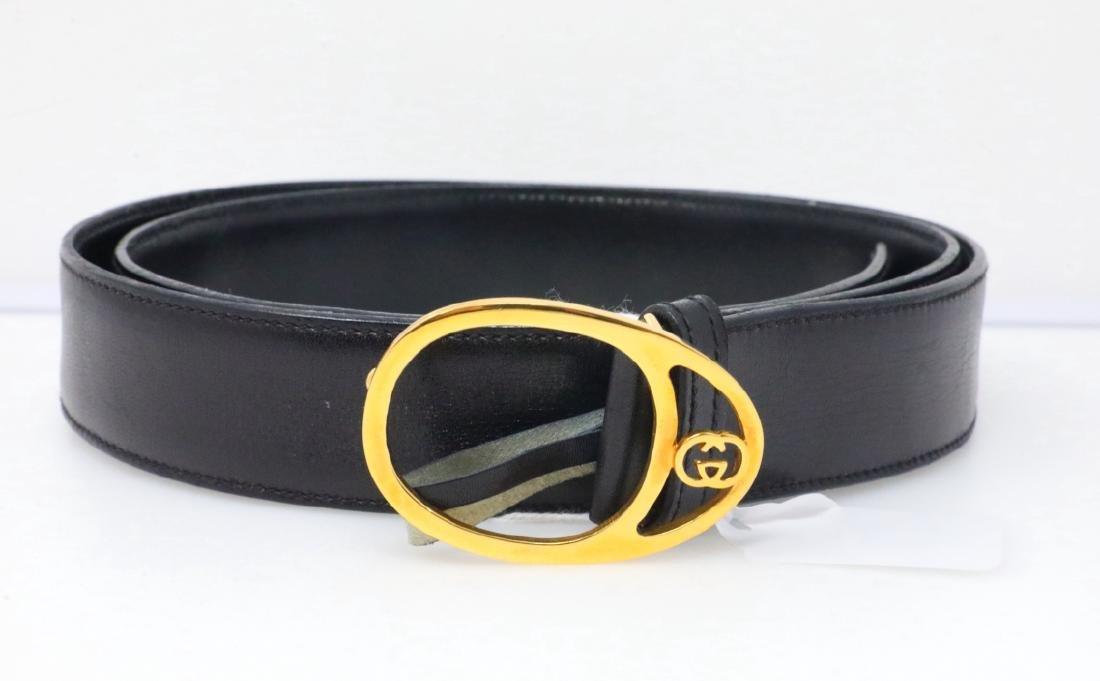 Gucci Vintage 1980s GG Logo Black Leather Belt