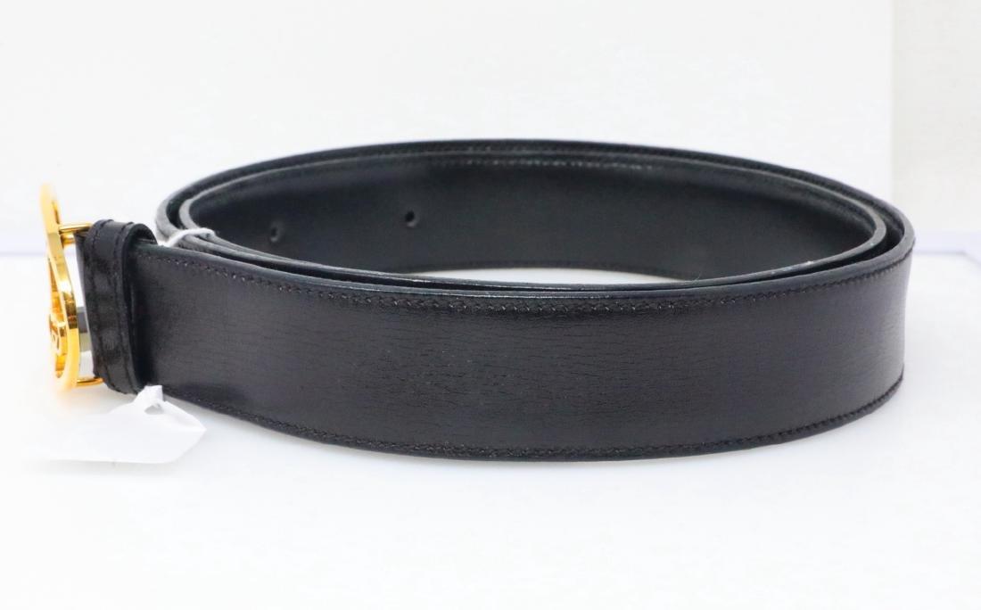 Gucci Vintage 1980s GG Logo Black Leather Belt - 2