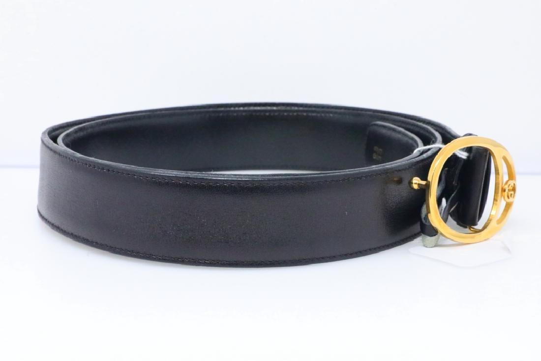 Gucci Vintage 1980s GG Logo Black Leather Belt - 3