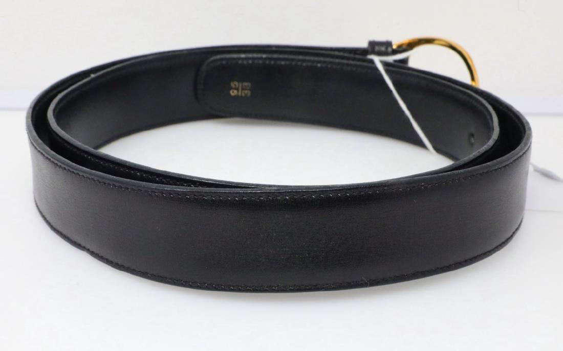 Gucci Vintage 1980s GG Logo Black Leather Belt - 4