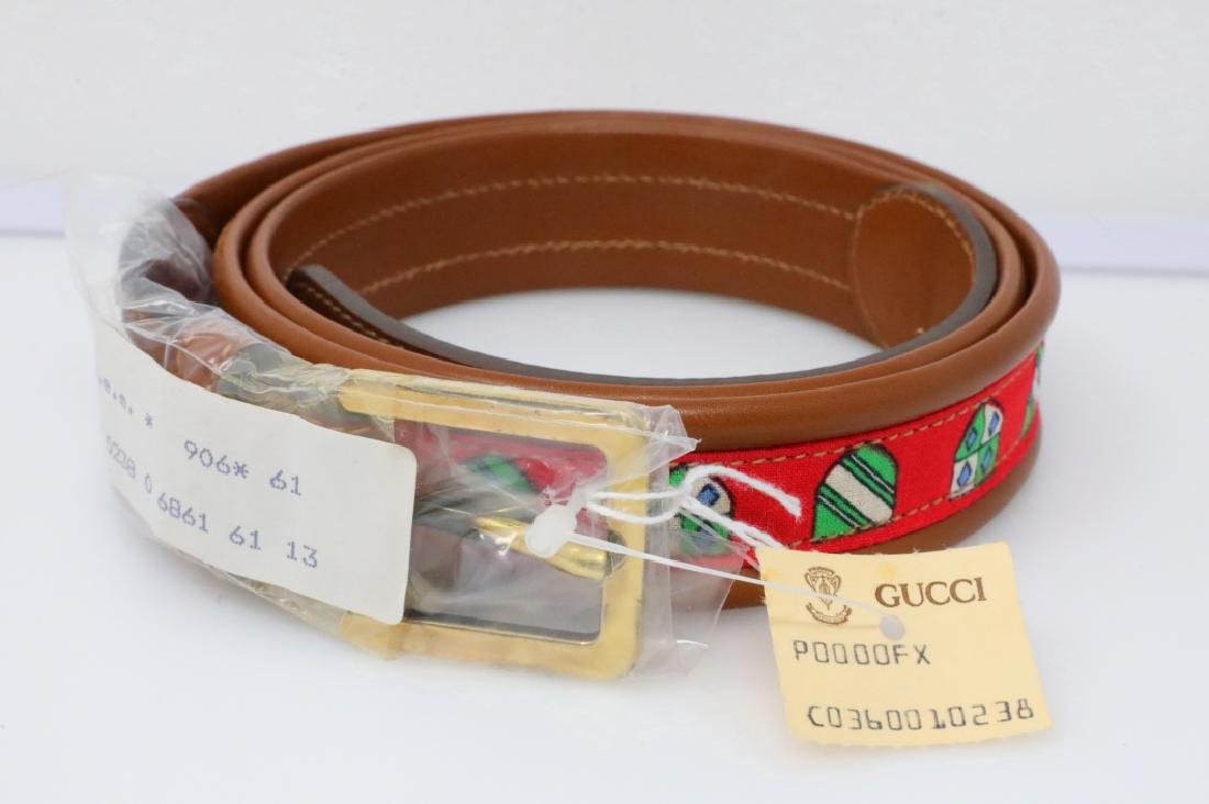 Gucci 1980s Tan Leather & Red Canvas Belt