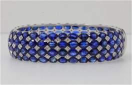 102ctw Blue Sapphire, 1.50ctw Diamond 18K Bracelet