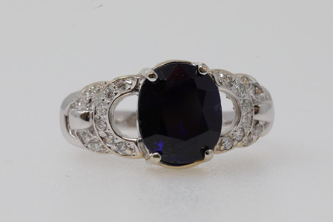 3.80ct No Heat Blue Sapphire 18K Ring W/Diamonds