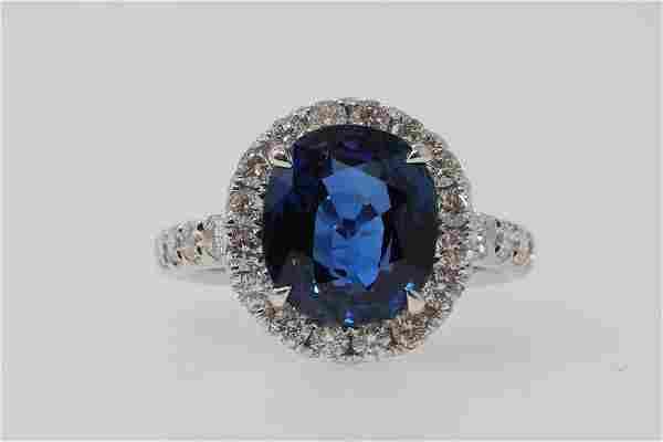 5.00ct AGL Blue Sapphire & 18K Ring W/Diamonds