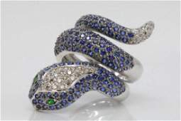 SapphireDiamond  18K White Gold Snake Ring