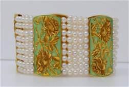 4mm Pearl, 18K & Enamel Vintage 9-Strand Bracelet