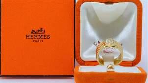Hermes Vintage Diamond  18K Ring WBox