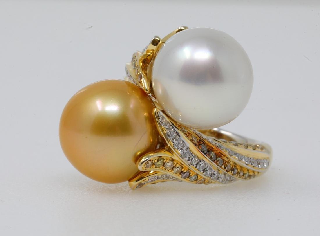 13.5mm South Sea Pearl,Diam & 18K Ring
