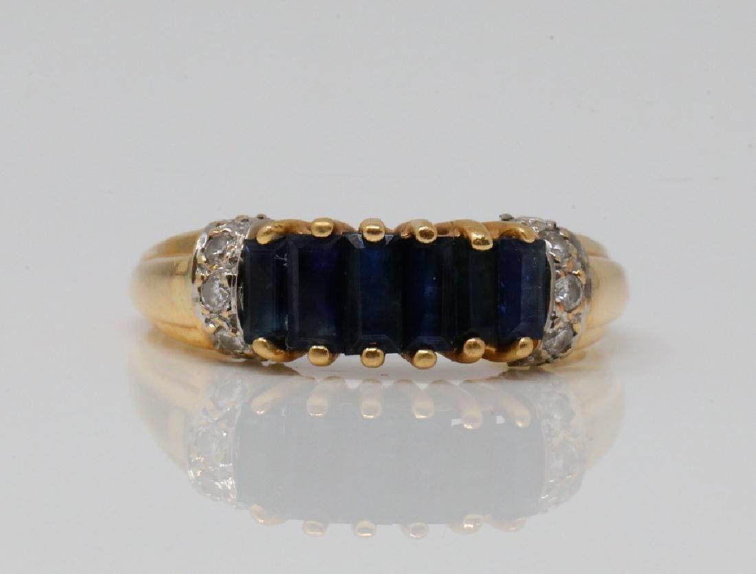 1.00ctw Blue Sapphire & 14K Ring W/Diamonds