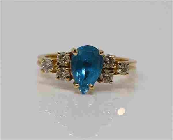 1.00ct Blue Topaz & 14K Ring W/Diamond Accents