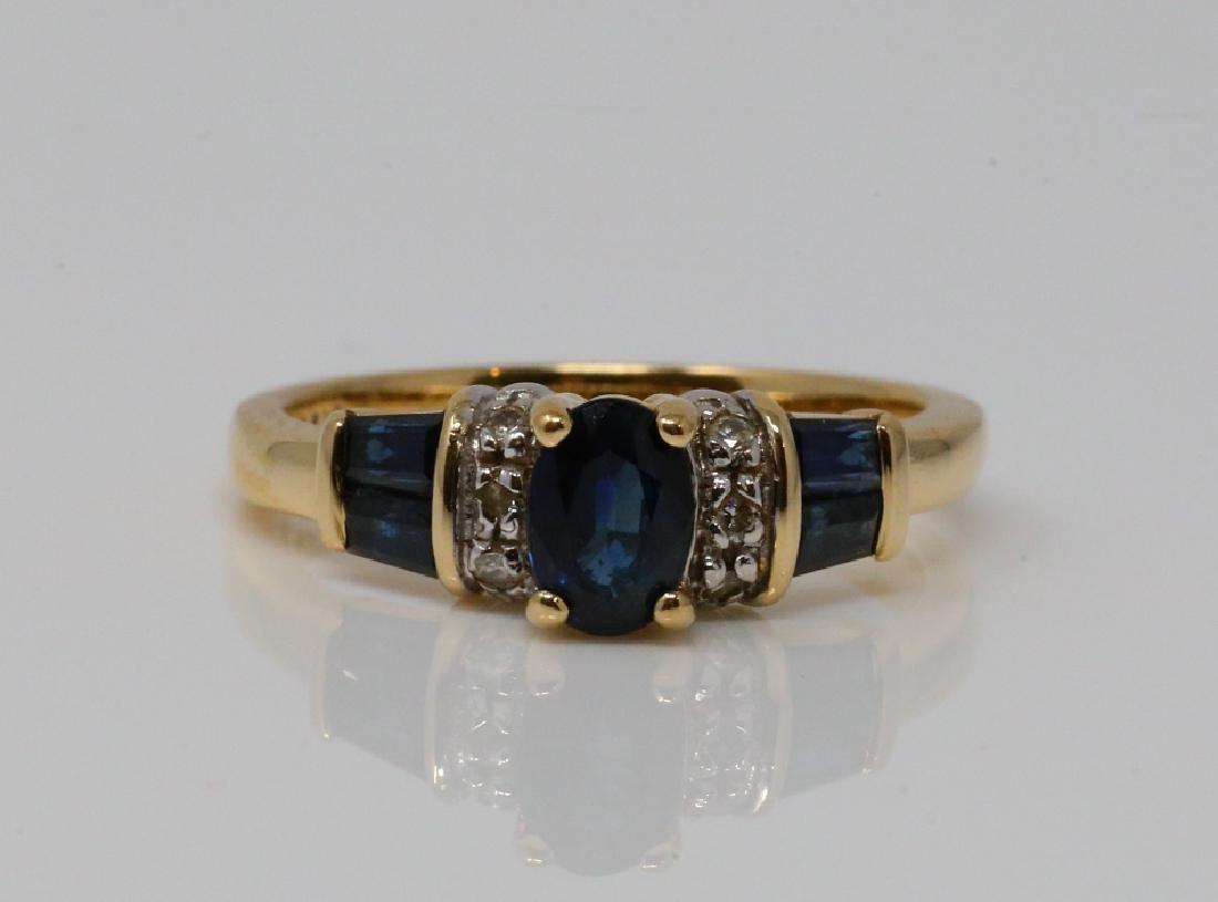 Vintage Blue Sapphire & 14K Ring W/Diamonds