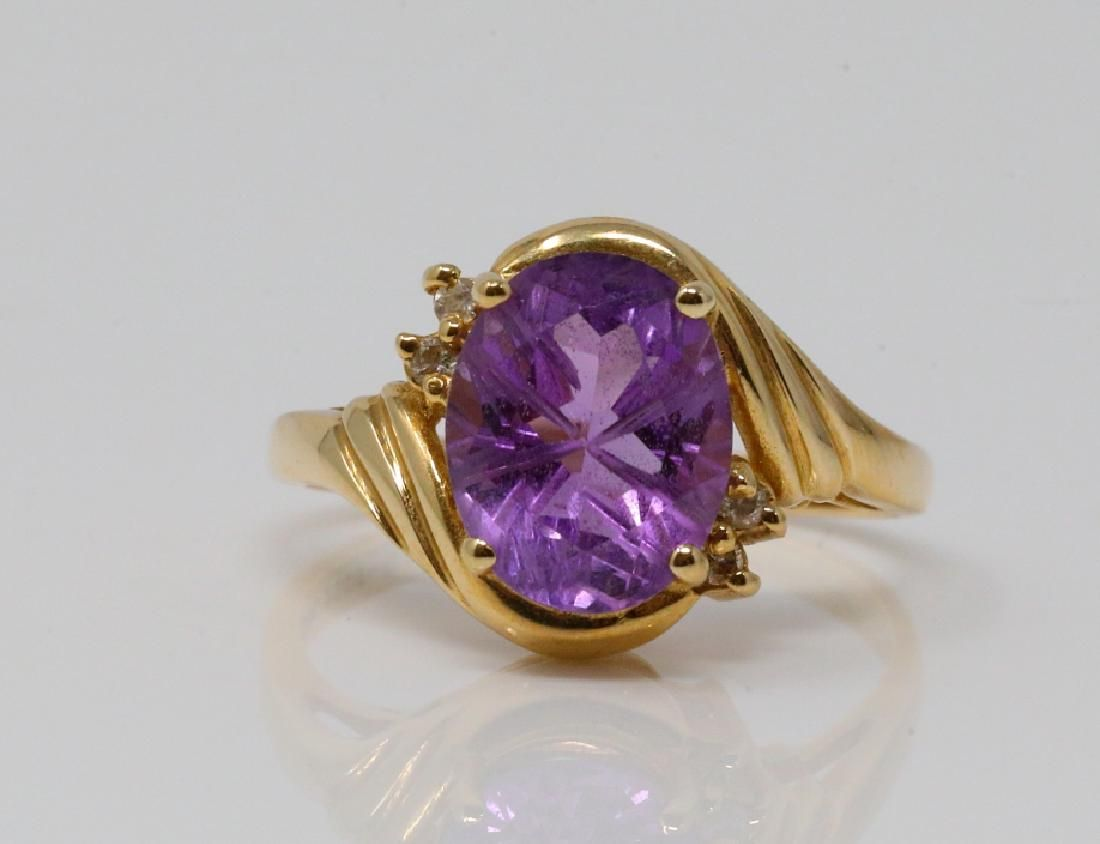 2ct Amethyst 14K Vintage Ring W/Diamonds