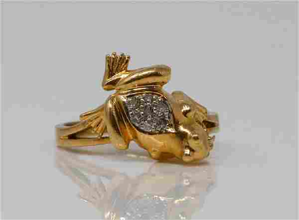 14K Yellow Gold Vintage Frog Ring W/Diamonds