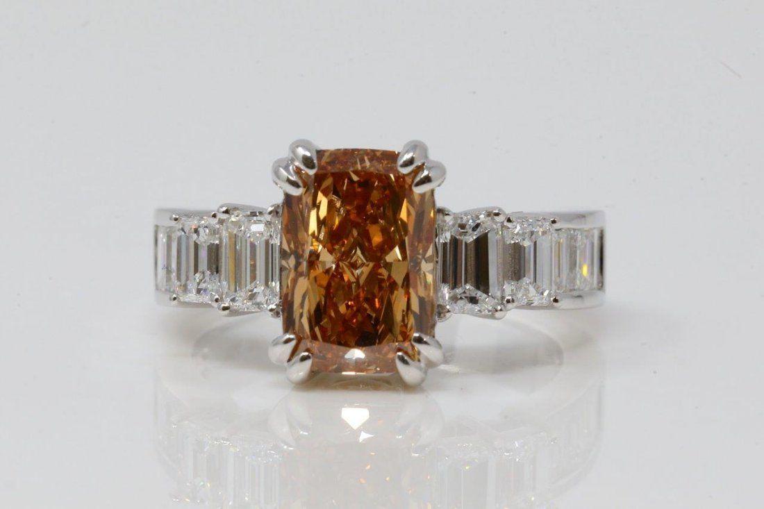 3.01ct GIA VS1 Brown Yellow Orange Diamond 18K Ring