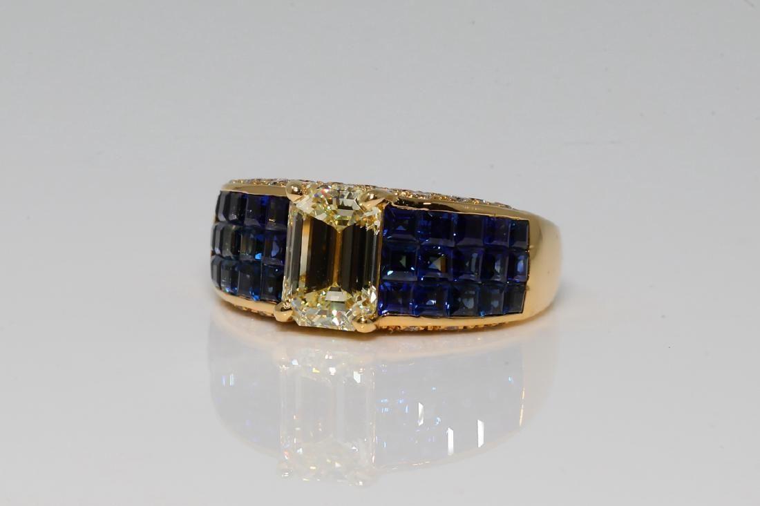 1.75ctw Diamond, 1.75ctw Blue Sapphire & 18K Ring