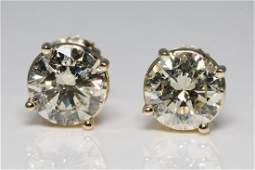 2.90ctw SI1-SI2/J-K Diamond & 14K Stud Earrings