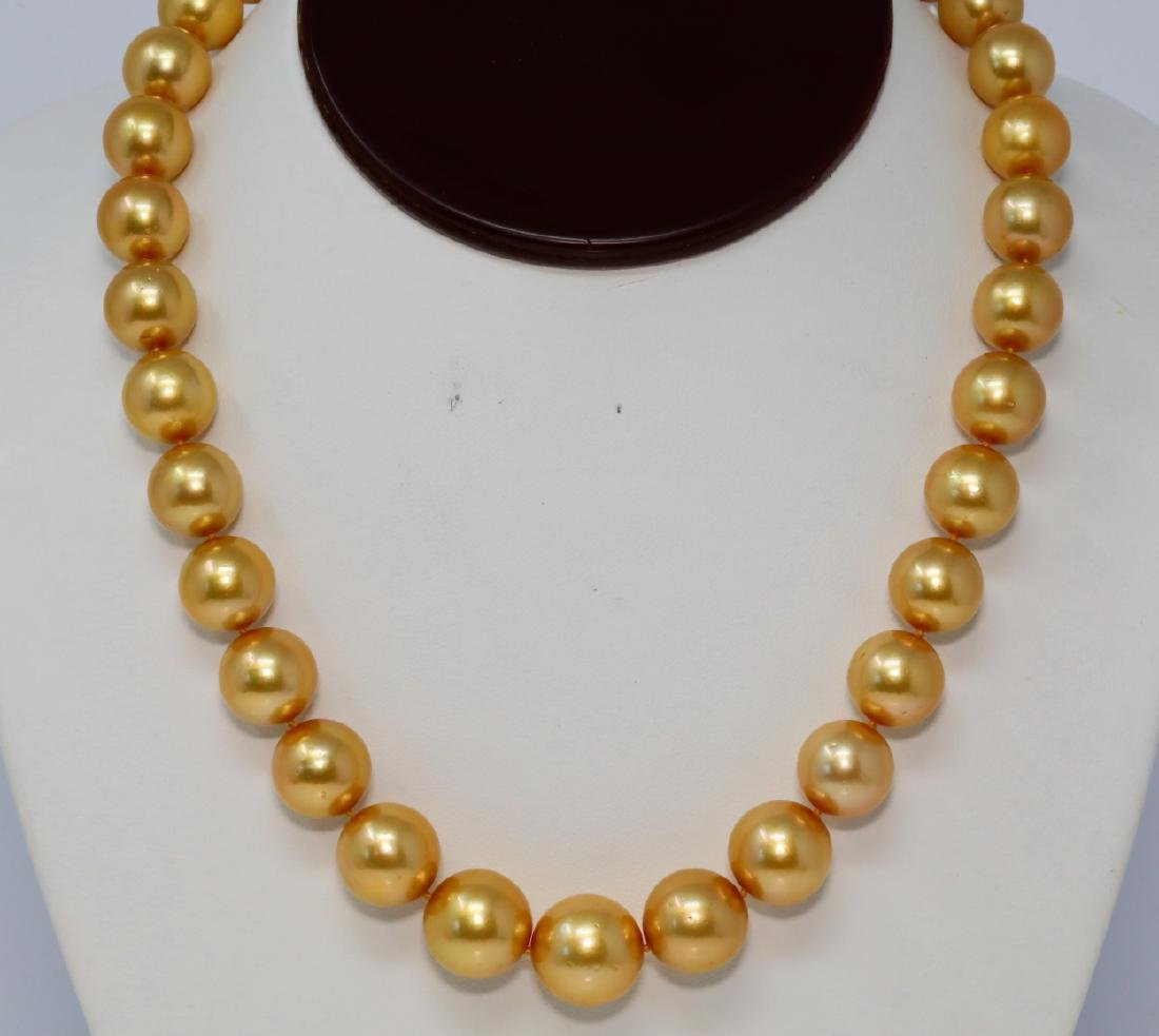 12mm-15mm Golden South Sea Pearl Necklace