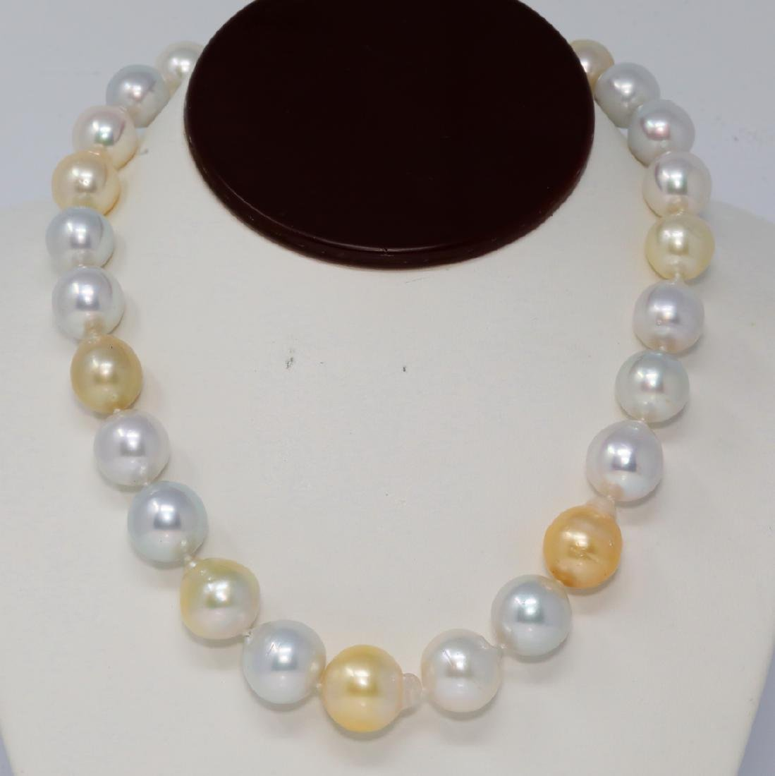 13mm-17mm White & Golden South Sea Pearl Necklace