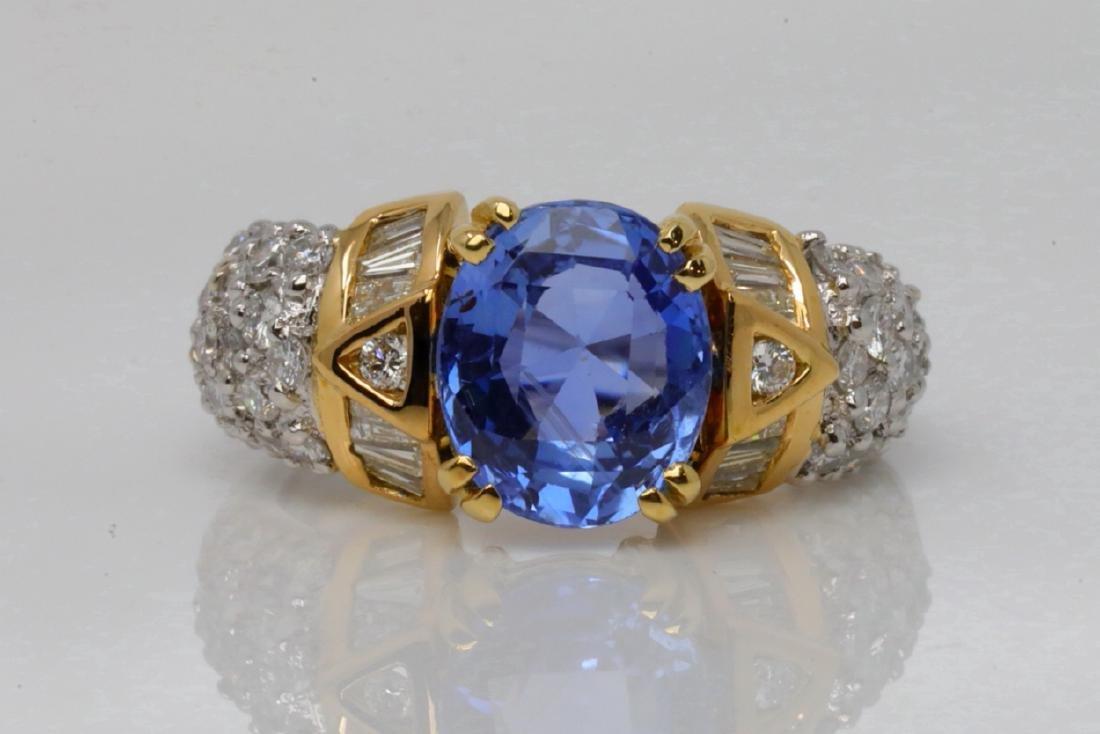 3.30ct Blue Sapphire, 1.10ctw Diamond & 18K Ring