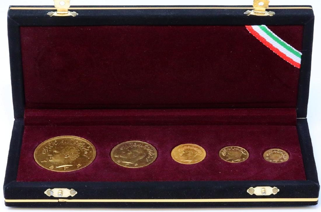 Iranian Reza Pahlavi (5) Solid 90% Gold Coin Set
