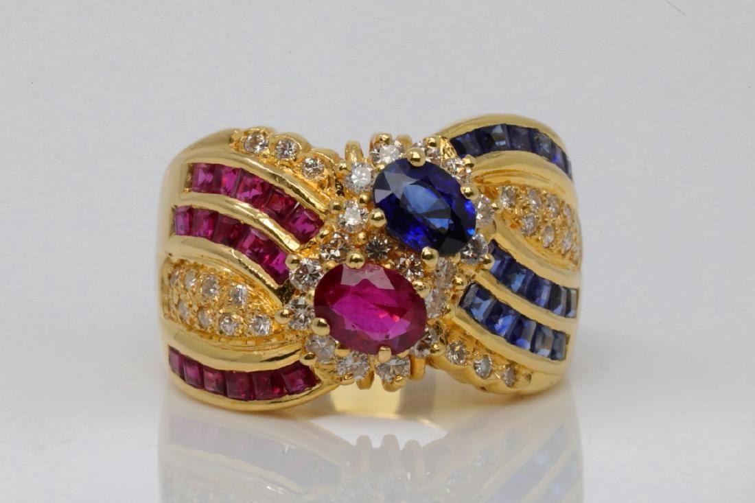 2.95ctw Ruby, Blue Sapphire & Diamond 18K Ring