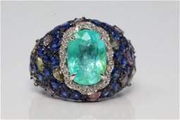 12.60ctw Tourmaline, Blue Sapphire & Diamond Ring