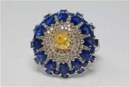 3.50ctw Blue Sapphire, 1.00ctw Diamond 14K Ring