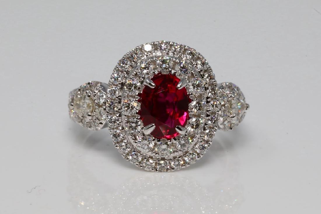 1.37ct GIA Ruby, 1.35ctw Diamond & 18K Ring