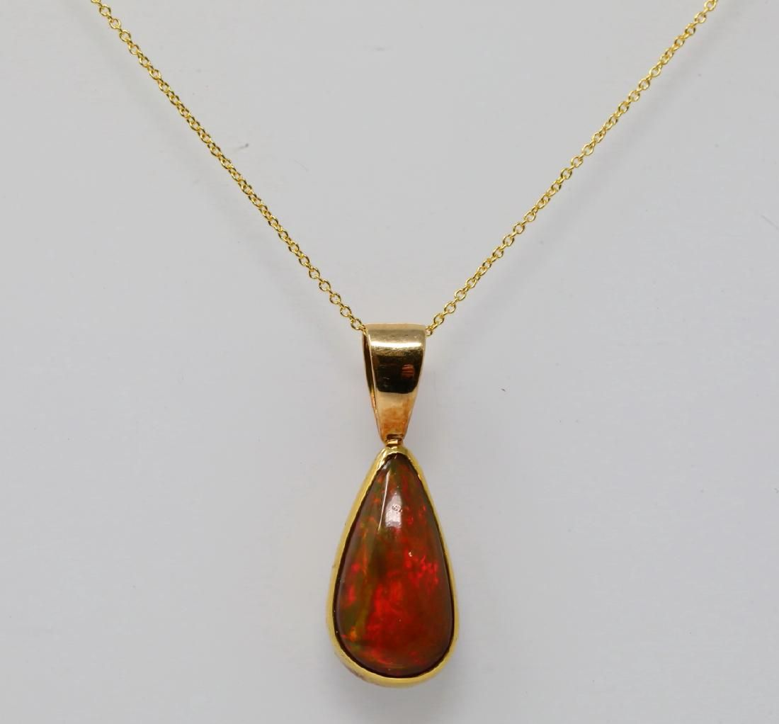 """14mm Fire Opal & 14K Yellow Gold 16"""" Necklace"""