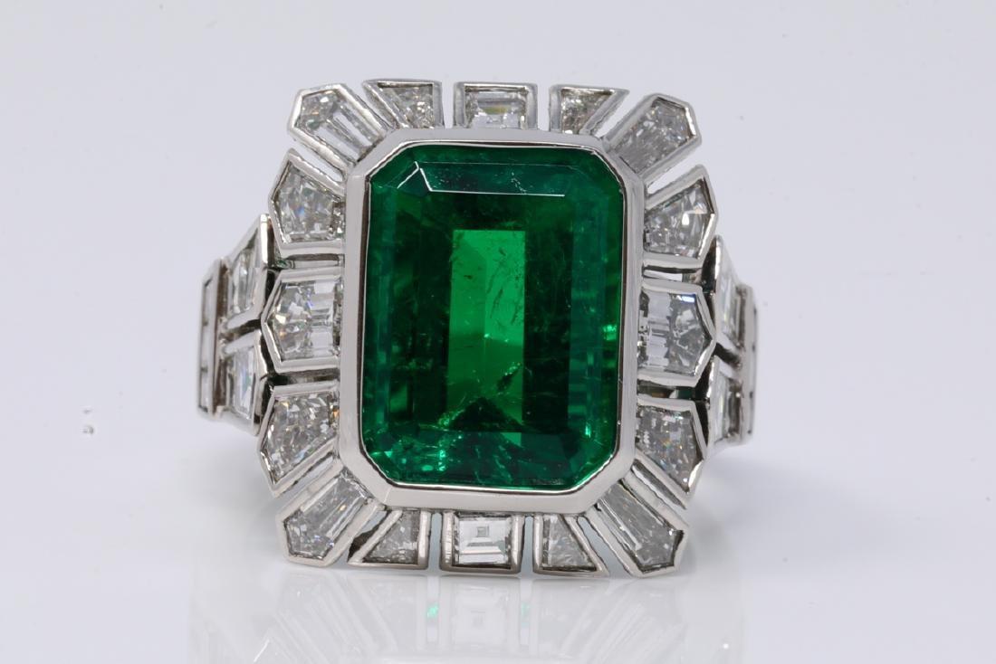 5.60ct Colombian Emerald, 4.20ctw Diamond & Plat. Ring
